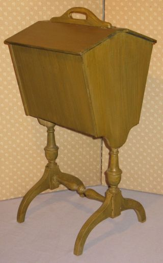 Vintage Sewing Stand Floor Style W/handle Flip Up Top Inside Movable Tray photo