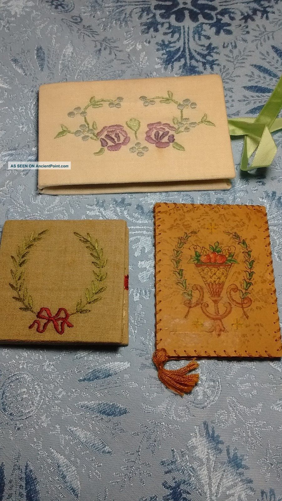 Three Lovely Vintage Hand Crafted Embroidered Painted Linen & Leather Needle Boo Needles & Cases photo