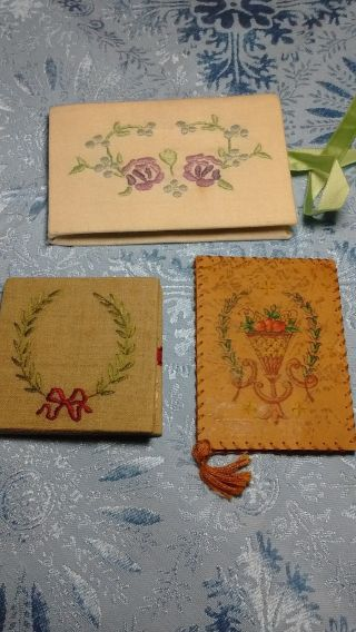 Three Lovely Vintage Hand Crafted Embroidered Painted Linen & Leather Needle Boo photo