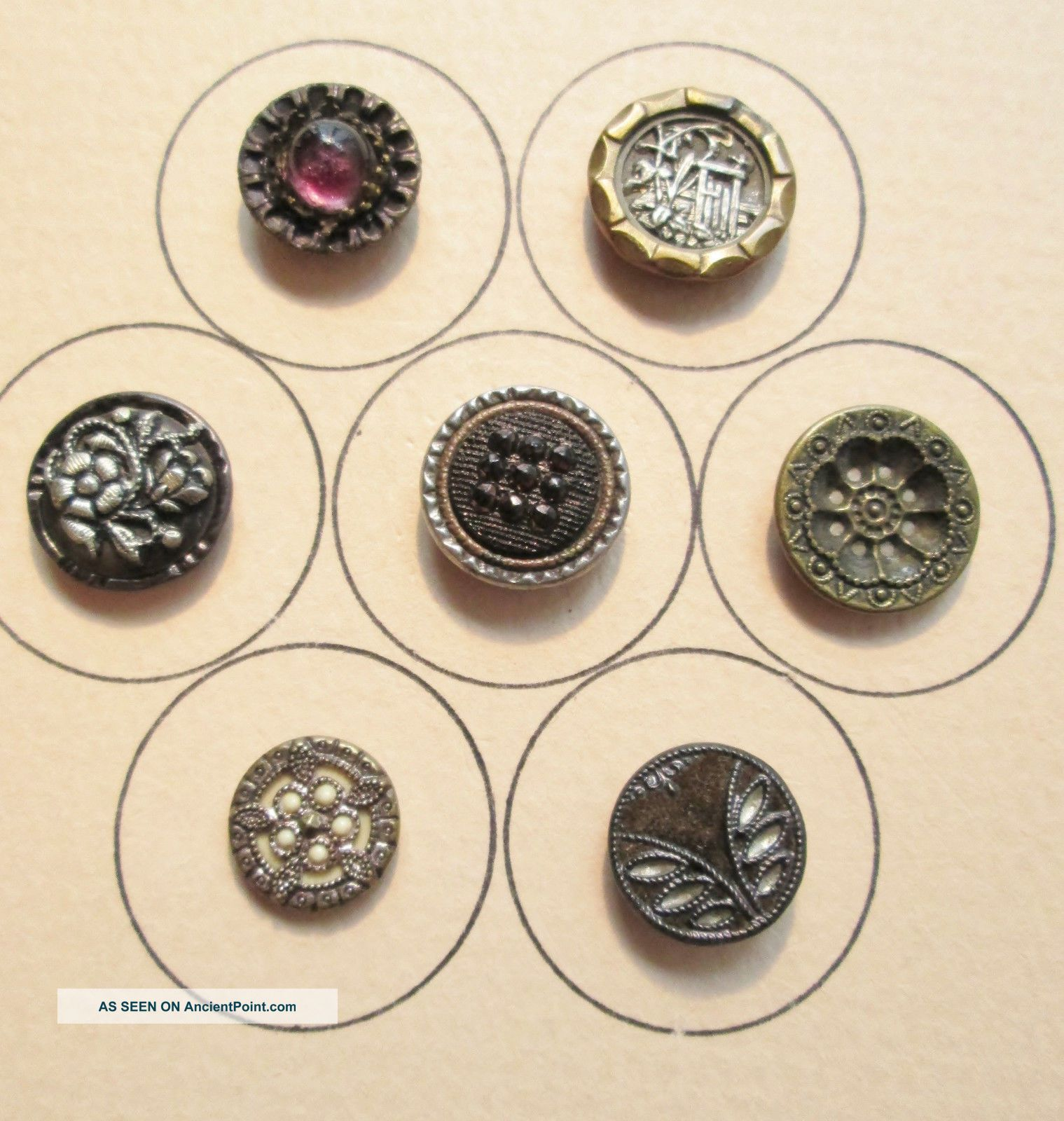 7 Sm Victorian Era Buttons Ivoroid,  Twinkle,  Perfume,  Pigeon Eye,  Piecture,  Etc. Buttons photo