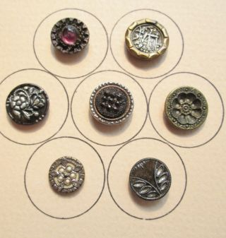 7 Sm Victorian Era Buttons Ivoroid,  Twinkle,  Perfume,  Pigeon Eye,  Piecture,  Etc. photo