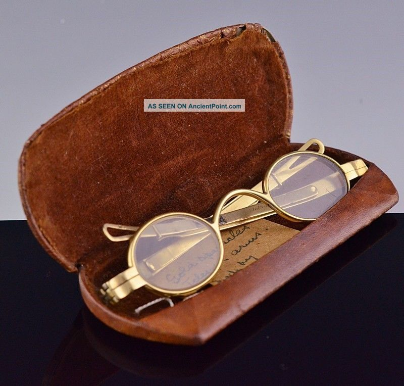 Rare C1797 American 18k Solid Gold Spectacles Eye Glasses Fisher Philadelphia Optical photo