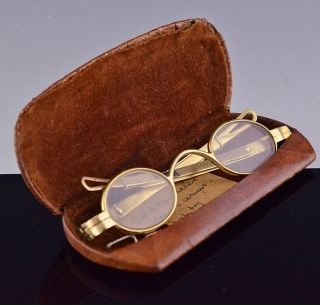 Rare C1797 American 18k Solid Gold Spectacles Eye Glasses Fisher Philadelphia photo