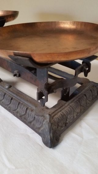 Circa 1860 French Antique Iron 5 Kg Roberval Scale Maison Beranger La Mulatiere photo