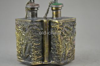 China 2 Lid Collect Handwork Old Copper Dragon Phoenix Relievo Snuff Bottle photo