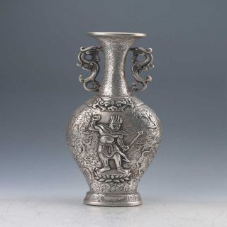 Chinese Tibetan Silver Hand - Carved Vase Z213 photo