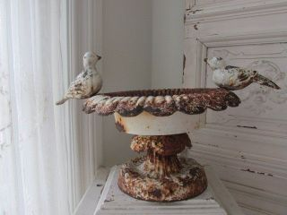 Omg Old Vintage Cast Iron French Garden Urn Planter With 2 Birds Chippy White photo