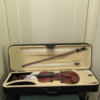 Antique Violin With Bow And Case photo