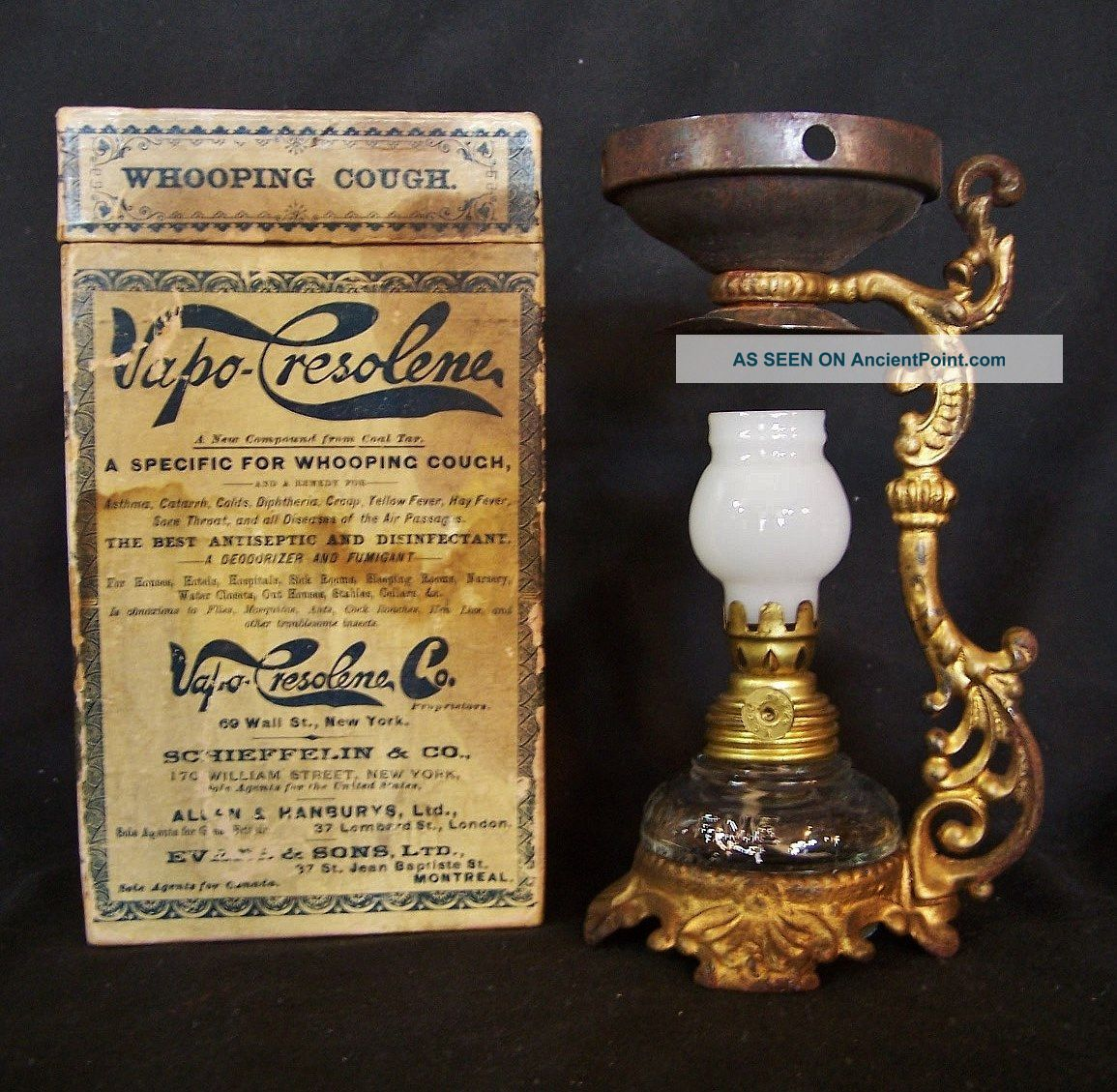 Antique Vapo Cresolene Miniature Oil Lamp Medical Vaporizer C1880 W/ Box Other Medical Antiques photo