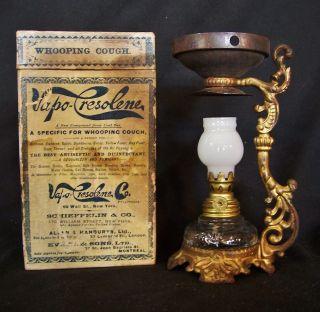 Antique Vapo Cresolene Miniature Oil Lamp Medical Vaporizer C1880 W/ Box photo