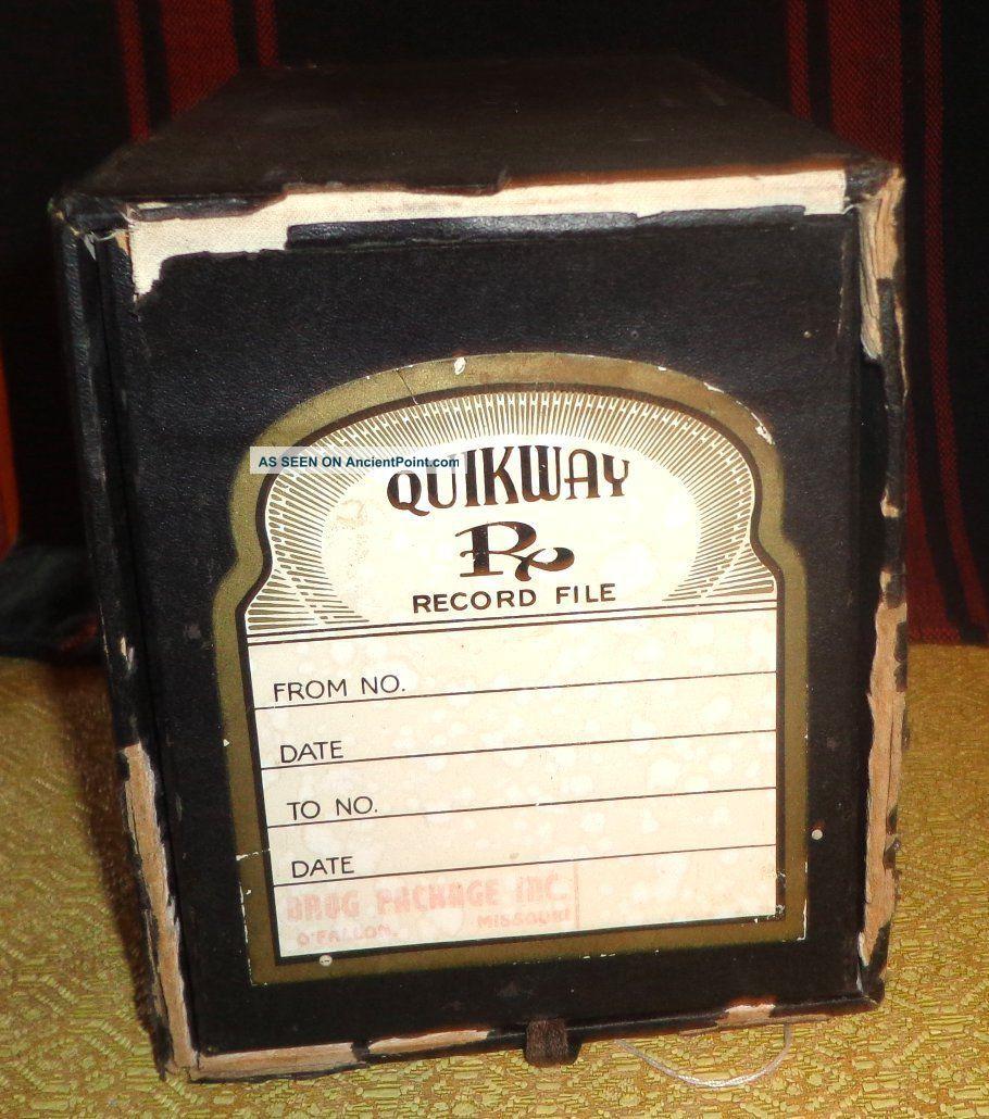 Antique Art Deco Quikway Pharmacy Apothecary Record Prescription File Box Other Antique Apothecary photo