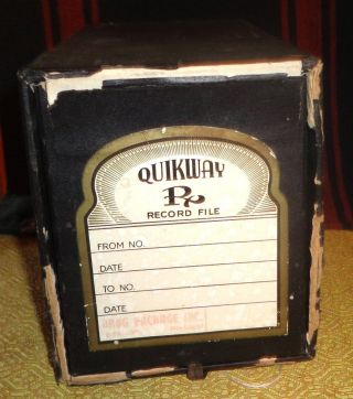 Antique Art Deco Quikway Pharmacy Apothecary Record Prescription File Box photo