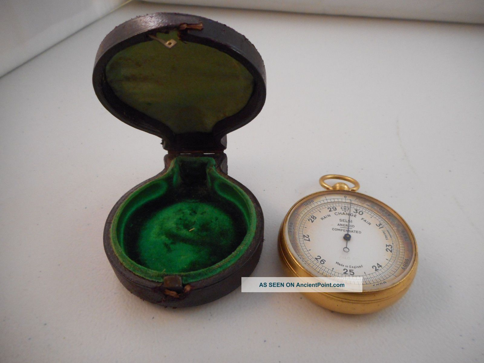 Antique Vintage Pocket Watch Style Barometer W/case - Selsi Aneroid - Palo Co. Barometers photo