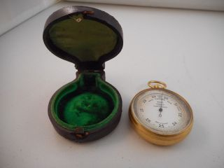 Antique Vintage Pocket Watch Style Barometer W/case - Selsi Aneroid - Palo Co. photo