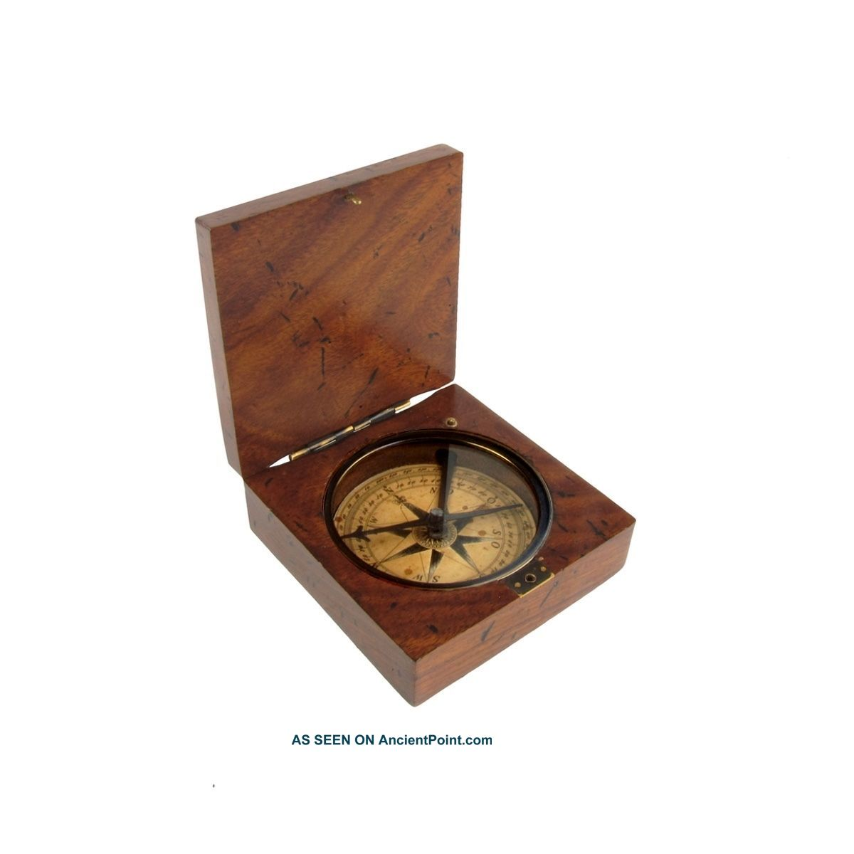 Vintage/antique Style Old Wood Box Directional Navigational Travel Compass Tool Compasses photo