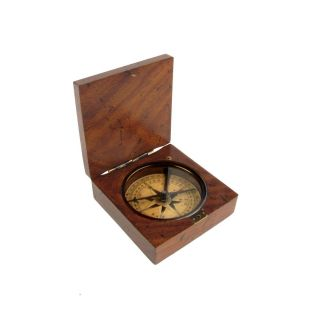 Vintage/antique Style Old Wood Box Directional Navigational Travel Compass Tool photo