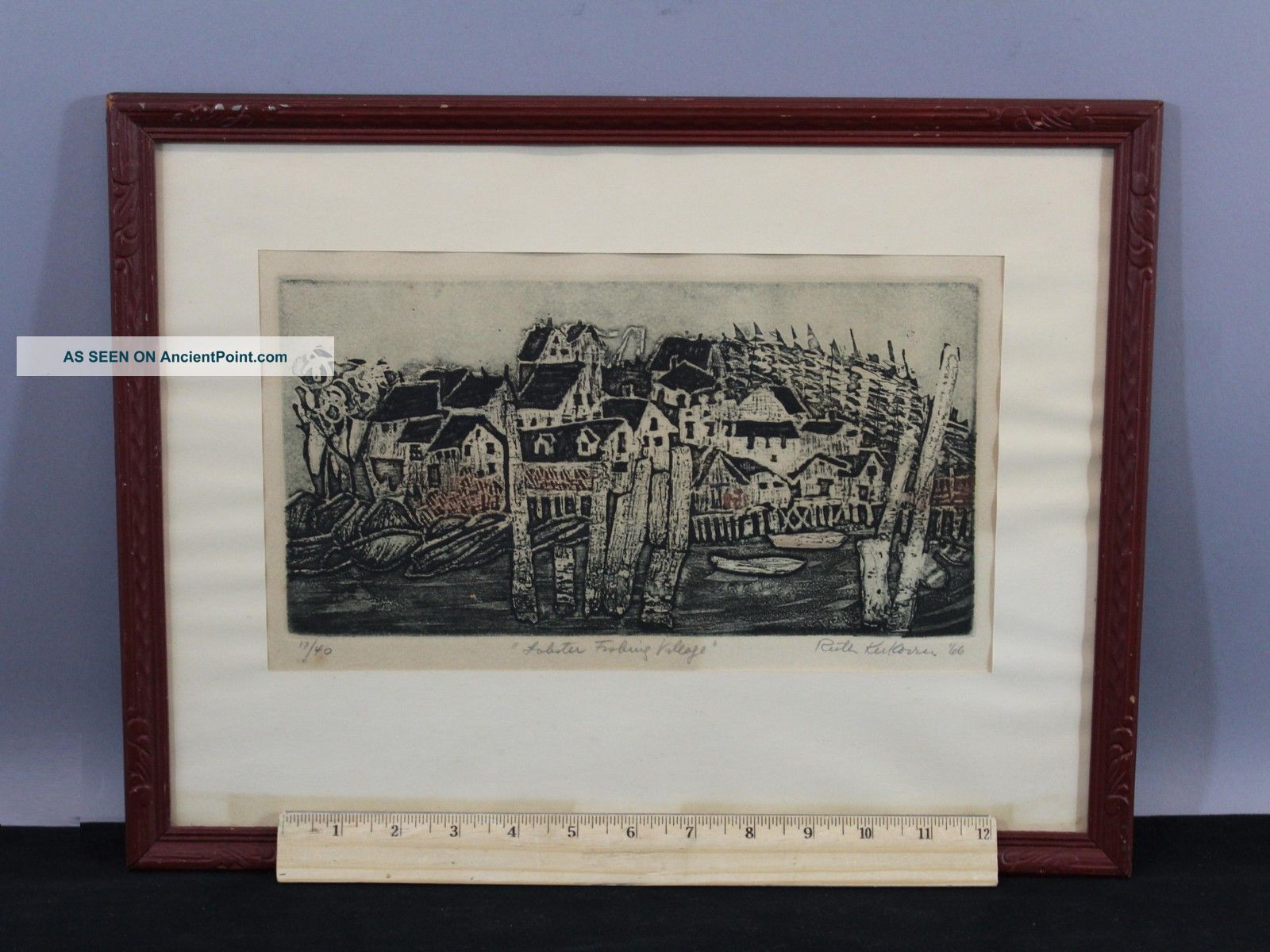 Vintage 1966 Limted Edition Ruth Kerkovius Lobster Fishing Town Etching Print Other Maritime Antiques photo