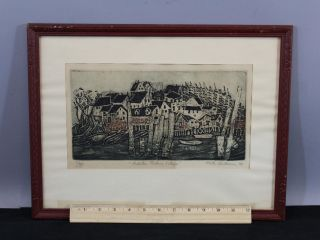 Vintage 1966 Limted Edition Ruth Kerkovius Lobster Fishing Town Etching Print photo