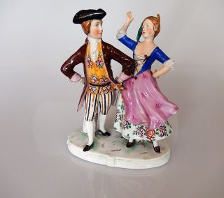 Dancing Couple Porcelain Figurine Antique Crown Stamp photo