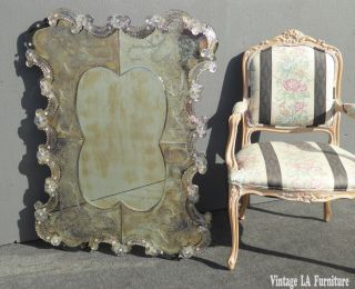 Vintage Venetian Style Distressed Effect Floral Design Wall Mantle Mirror photo