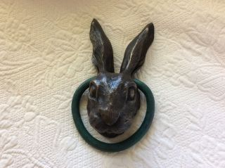 Rabbit Door Knocker,  Artist Kerry Mcguire Signed Bronze Art.  9
