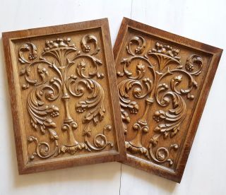 Matching Pair Carved Wood Panel Salvaged Furniture Architectural Scroll Leaves photo