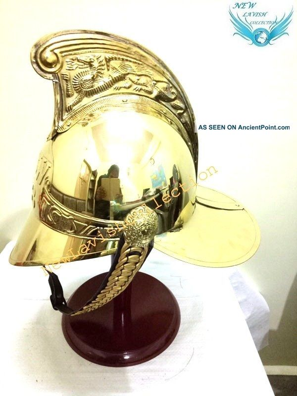 Antique Marine Solid Brass British Fireman Medival Helmet With Inner Liner Diving Helmets photo