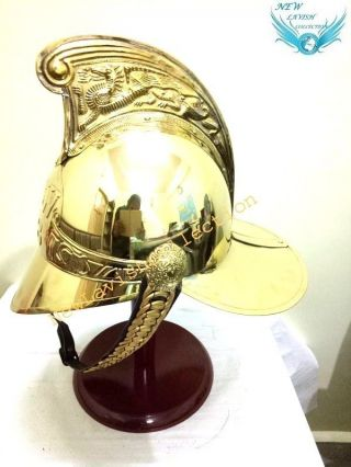 Antique Marine Solid Brass British Fireman Medival Helmet With Inner Liner photo