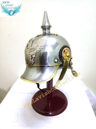 Ww1 Repro Silver Imperial German/prussian Cuirassier Pickelhaube Helmet photo