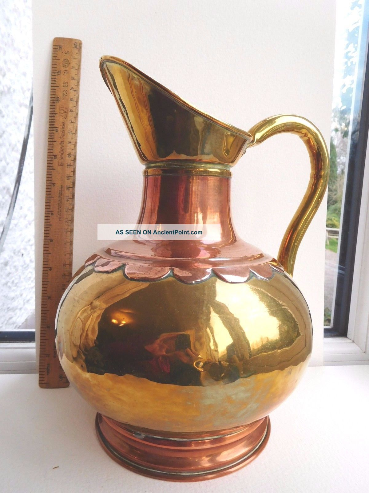 Arts & Crafts Copper/brass Large Jug Copper Rivets Rolled Edges Scalloped Collar Arts & Crafts Movement photo