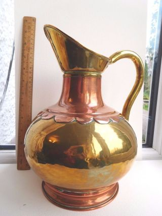 Arts & Crafts Copper/brass Large Jug Copper Rivets Rolled Edges Scalloped Collar photo