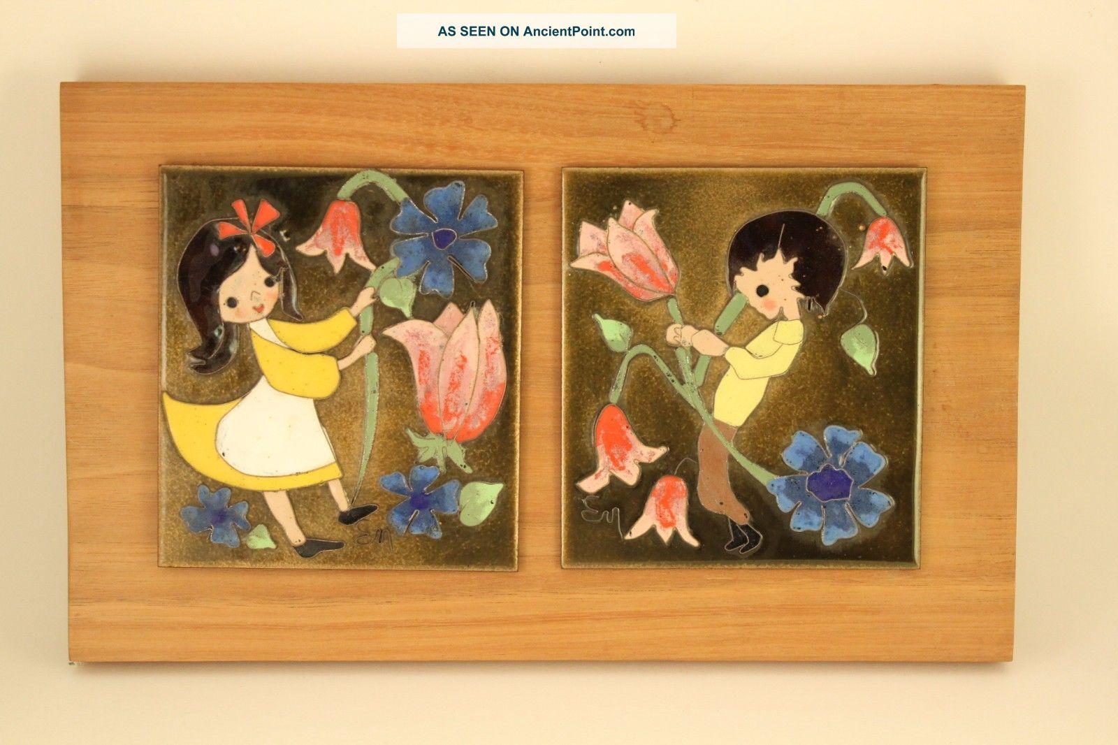 Vtg Edith Meyer Enamel Copper Cloisonne Art Twin Boy & Girl Plaque Framed Signed Mid-Century Modernism photo