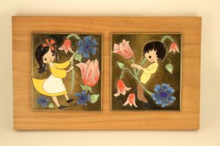 Vtg Edith Meyer Enamel Copper Cloisonne Art Twin Boy & Girl Plaque Framed Signed photo