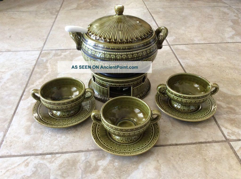 Vtg Mid Century Modern Celadon Green Soup Tureen,  Bowls,  Plates,  Ladle - Japan Mid-Century Modernism photo