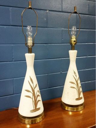 Pair Ceramic Table Lamps Mid Century Modern Pottery Vintage photo