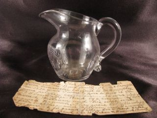 Antique English Engraved Glass Milk Pitcher William & Hannah Bond Ca.  1830 photo