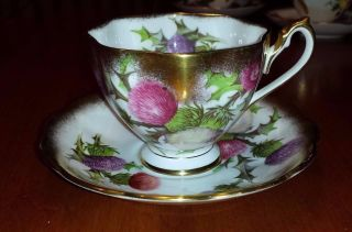 Queen Anne Gold Guilded Thistle Tea Cup And Saucer photo