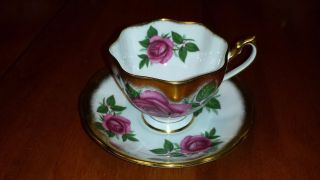 Queen Anne Pink Rose Gold Guilded Tea Cup And Saucer photo