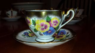 Queen Anne England Pansies And Gold Guilded Tea Cup And Saucer photo