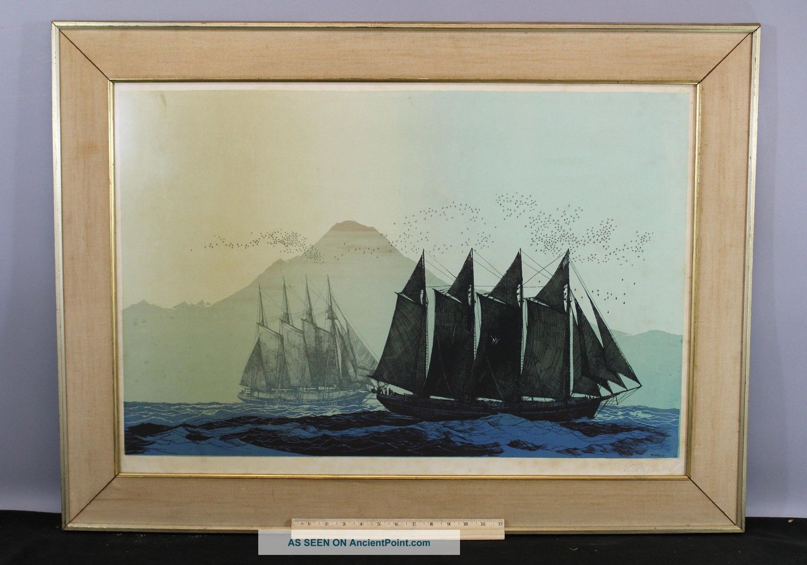 Large Elton Bennett Serigraph Print,  Trade Winds 4 - Masted Schooner Ships Other Maritime Antiques photo