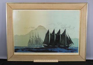 Large Elton Bennett Serigraph Print,  Trade Winds 4 - Masted Schooner Ships photo
