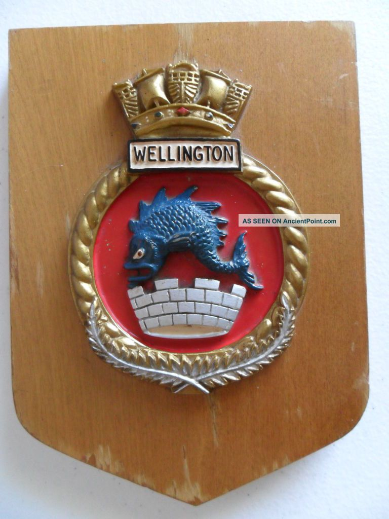 Naval Hmnzs Wellington (f69) 1980 ' S Crest Other Maritime Antiques photo
