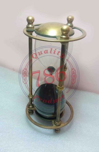 Nautical Solid Brass Sand Timer Maritime Marine Hour Glass Desk Top Decor Gift photo