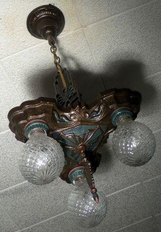 1920 ' S Antique Vintage Art Deco Ceiling Fixture Chandelier Cast Iron Lasalle photo