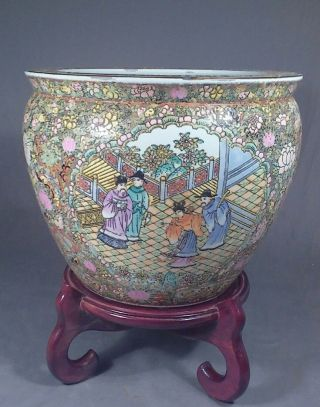 Large Vintage Chinese Porcelain Fish Bowl & Stand Famille Rose Jardinere Planter photo