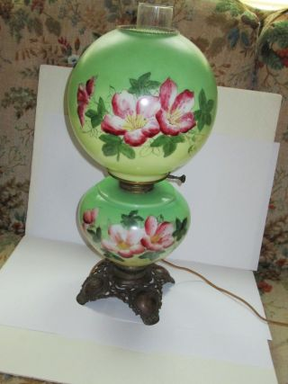 Gone With The Wind Lamp Floral Ball Shade Converted P & A Base 20