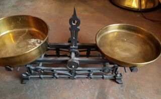 Antique Cast Iron Balance Scale With 2 Brass Pans.  Stamped