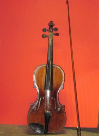 Antique Violin W/ Bow Joannes Georgius Leeb Label & 1826 Repair Label photo