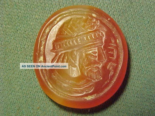 Sassanian Intaglio Of Carnelian (male Bust) Circa 224 - 642ad Near Eastern photo
