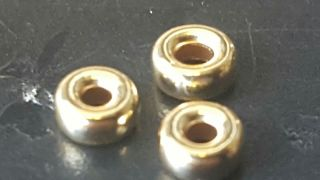 Solid Gold Disc Beads X 3x 3mm photo